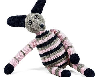 phil - gray black pink stripes one of a kind handmade crocheted dog softie plush animal