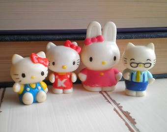 Vintage Sanrio Hello Kitty & My Melody Figurine Lot - Retro 80s Kawaii Cats + Bunny Figurines - Collectible Sanrio Doll / Mini Figures Gift