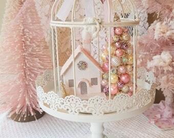 Shabby Pink Putz House, Cream Bottle Brush Trees, White Birdcage