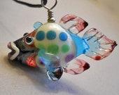 Sale rainbow fish lampwork glass pendant necklace, handmade lampwork glass bead, bargain ocean focal bead, jewelry supplies, SRAJD