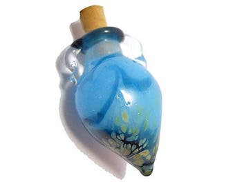 Aqua blue glass bottle necklace, aromatherapy or cremains wearable handmade lamp work glass bead vessel, glass vial, amphora pendant jewelry