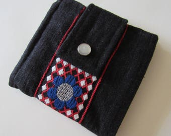 Vintage Woven Ribbon Scrappy Wallet * Holds 8 cards and paper money * twilightdance