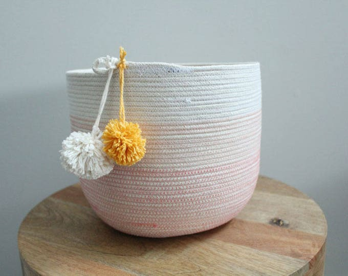 Basket rope coil bin storage organizer bowl pompoms natural coral gold by PETUNIAS