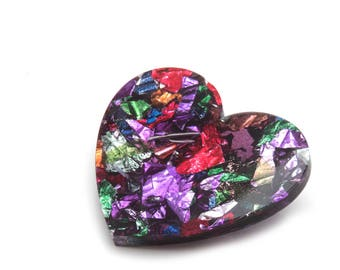Kaleidoscope Foil Acrylic Large Heart Brooch - Multi Colour Metallic Foil Love Heart Brooch - Statement Acrylic Heart Brooch - Heart Pin