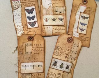 Altered grunge shipping tags for junk journals