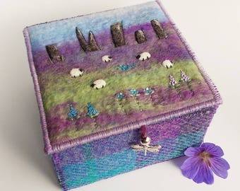 Standing Stones and Sheep Harris Tweed and Felt Trinket Box