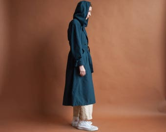 green hooded trench coat / petite classic rain coat / vintage 80s trench coat / small / petite 0 / 2123o / R3