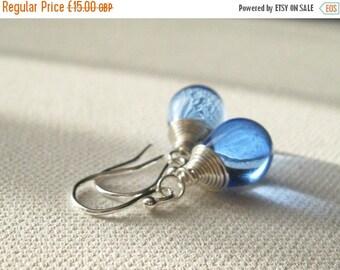 ON SALE Blue Teardrop Earrings. Sterling Silver Earrings. Blue Briolette Earrings. Contemporary Earrings. Wedding Earrings. UK Seller