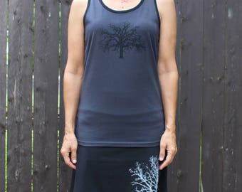Oak Tree Tank Top Gray XS,S,M,L,XL