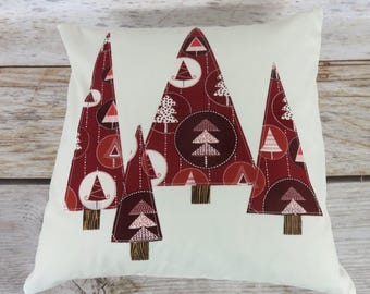 CHRISTMAS Pillow Cover | Wine Dark Red and White Applique Trees | Holiday Decor | Winter Home Decor | Christmas Xmas Decor
