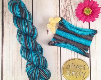 Electric Slide: Hand-dyed gradient self-striping sock yarn, 80/20 SW merino/nylon