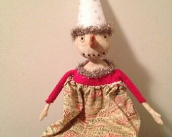 ON SALE Primitive Christmas Snowgal Snowman-