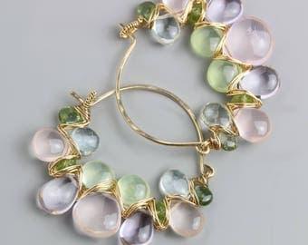 Rose Quartz Prehnite and Pink Amethyst Hoop Earrings. Mint and Roses Gem Weave Hoops.