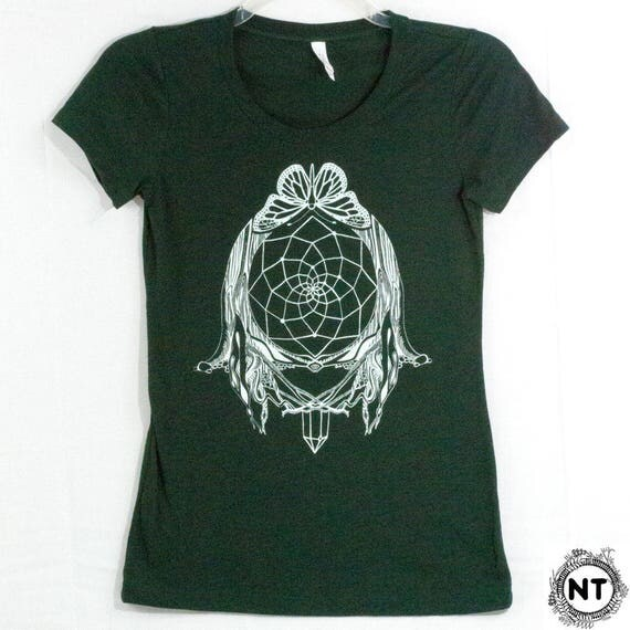 Dreamcatcher Emerald Green Screen Printed Women's Tee