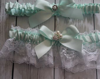 Ivory or White Lace and Pale Mint/Ice Mint Satin Garter Set with Ice Mint Satin Bows-Rhinestone Cluster and Pearl Accent