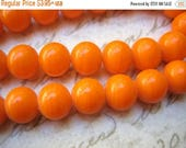 SALE 15% off Vintage  beads (20+) Japanese glass tangerine orange opaque glass beads rounds - Japan - 8mm rounds (20+)