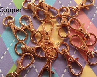 15 Pieces Lobster Swivel Clasps - 1.3 INCH - 34 mm (available in antique brass, copper, and antique copper)