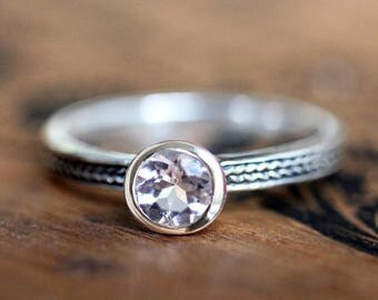 Pink morganite ring, morganite engagement ring, bezel set ring, braided ring, round solitaire ring, wheat ring, ready to ship size 6.25