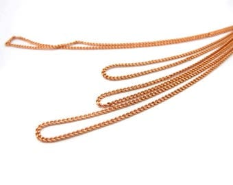 Dainty Shiny Rose Gold Plated on Brass Curb Chain (4 feet)  (C923-D)