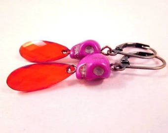 Copper Dangle Earrings, Howlite Skulls and Daggers, Red and Purple Earrings, FREE Shipping U.S.