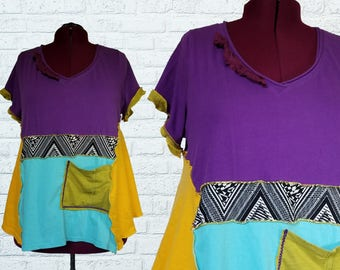 A Day At The Festival Color block Tunic Shirt 1x 2x XXL Eco Friendly Plus Recycled Fashion Purple Yellow Green Boho
