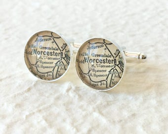 Worcester Map Cufflinks - You pick your map - Worcester Massachusetts Cufflink Set Cuff Link Set  - Custom Map Gifts and Accessories