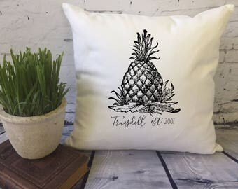 personalized pineapple decorative throw pillow cover,  pineapple gift, housewarming gift, personalized pillow