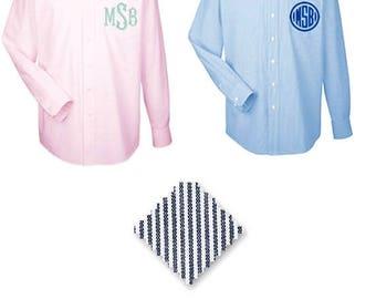 ON SALE Monogrammed Stripe Button Down Shirt - Bridesmaid Shirts - Bridesmaid Gift - Stripe Oxford Wedding Party Shirts - Wedding Day Shirts
