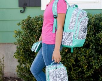 ON SALE Parker Monogram backpack - back to school -monogram backpack for girls - hair bow -  backpack and lunch bag set - pencil case