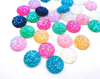10 Assorted 14mm resin druzy cabochons, H134