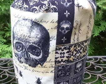 Drawstring bag, WIP bag, knitting project bag, Nevermore, Tribute to Edgar Allan Poe, Suebee