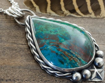 Parrot Wing Chrysocolla Pendant. Chrysocolla Necklace. Silver Chrysocolla Necklace. Gemstone Pendant. Silver Pendant. Statement Necklace