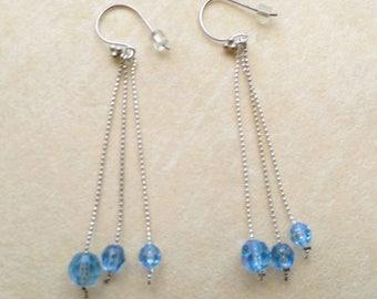 Sterling Silver Earrings, Sterling silver Chains, Blue Aquamarine, Firepolish Crystal Earrings - Morning Clear Sky by enchantedbeads on Etsy