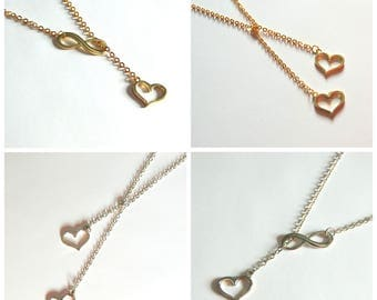 Infinite Love Collection, Valentine's Day Jewelry Gift, Heart Necklace, Lariat Necklace, Infinity Necklace, wedding jewelry, bridal gift,