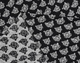 Japanese Fabric reversible double knit - Tiger - black, grey - 50cm