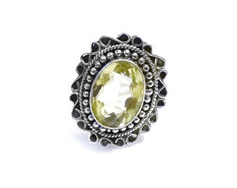 Sale: Ornate Lemon Citrine and Sterling Silver Ring Size 8.5