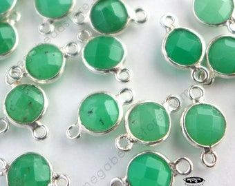 6 pcs Tiny 6mm Chrysoprase Green Stone Tiny Sterling Silver Bezel Connectors F391S