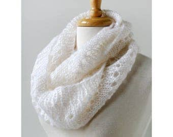 Women's Scarf Hand Knit in Mohair and Silk, WHITE, Infinity Scarf, Loop Scarf, White Scarf, Snood, Circle Scarf, Made in New York, USA