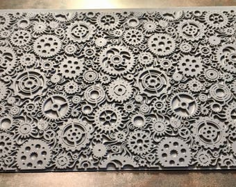 Mega STEAMPUNK SWIRL  Rubber Texture Tile Stamp for Clays inks paints Gelly Pads  MGT219