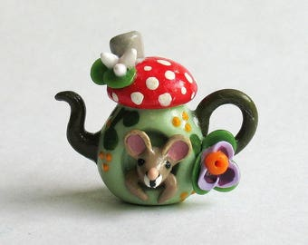 Handmade Miniature Wee Mouse In Fairy Toadstool House Teapot by C. Rohal