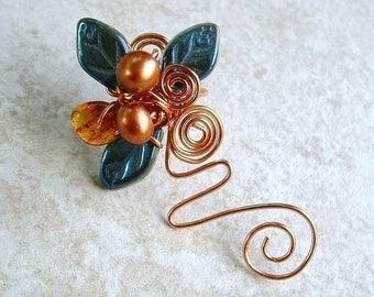ON SALE Ear Cuff Vine Blue Copper Amber No Piercing, Fairy Jewelry, Fantasy Ear Climber Non Pierced