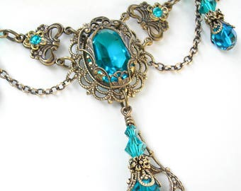 Victorian Style Blue Zircon Choker Necklace and Earring Set - Vintage Inspired Jewelry