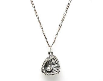 SALE Baseball Softball in Glove Sterling Silver Pendant Charm Customize no. 2000