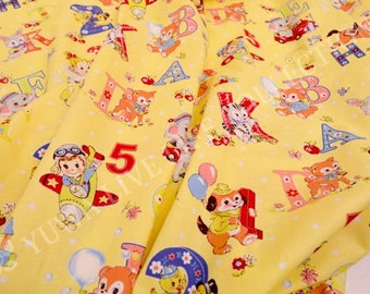 HALF YARD Yuwa - Happy Baby on Yellow - Atsuko Matsuyama 822366-C - Cute Animals and Alphabet Letters - Japanese Fabric