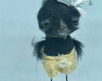 Newly hatched baby crow Ooak art doll