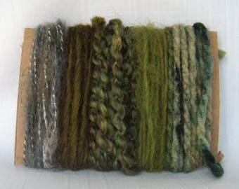 Green Earth Brown Yarn Bundle Fiber Scraps Weaving Needle Arts 1573