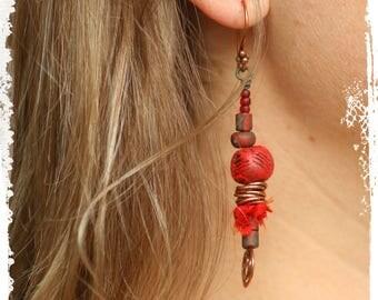 Red modern tribal earrings, Gypsy stick earrings, Rustic bohemian earrings, Mixed media earrings, Gift for her