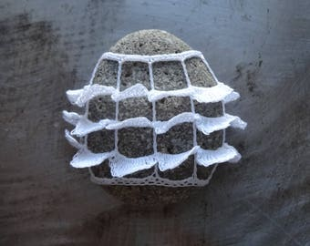 Crocheted Stone, Ruffled, Handmade, Unique Gift, Bohemian, Small, White, Miniature Art, Collectible, Monicaj