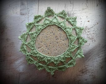 Crocheted Stone, Lace, Original, Handmade, Unique Gift, Bohemian, Home Decor, Gift, Small, Green, Miniature Art, Leaves Collectible, Monicaj