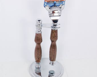 Handcrafted Black Walnut Wood - Chrome Shaving Set designed for Fusion/M3/DE Safety Razor with Stand